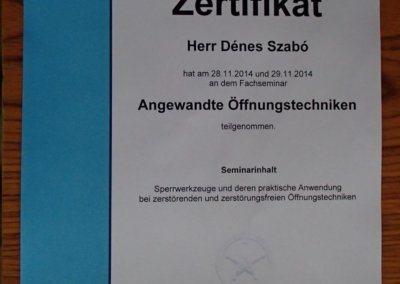 Hivatalos zárnyitás képzés oklevele